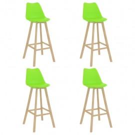 Taburetes de cocina 4 unidades verde PP y madera maciza de haya