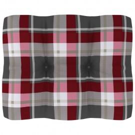 Cojín para sofá de palés estampado a cuadros rojo 50x40x12 cm