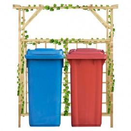 Pérgola de jardín para 2 cubos de basura madera pino impregnada