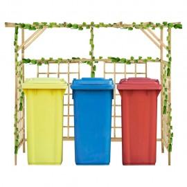 Pérgola de jardín para 3 cubos de basura madera pino impregnada