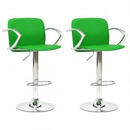 Taburetes de cocina 2 unidades cuero artificial verde