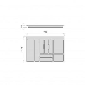 Cubertero Optima para cajón de cocina Vertex/Concept 500, módulo 800 mm, Tablero: 16mm, Plástico, blanco