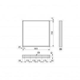 Juego de dos patas Square rectangulares para mesa, ancho 800 mm, Pintado blanco