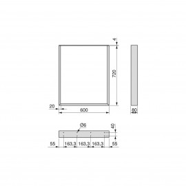 Juego de dos patas Square rectangulares para mesa, ancho 600 mm, Pintado blanco