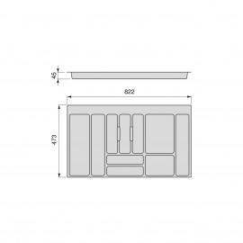 Cubertero Optima para cajón de cocina Vertex/Concept 500, módulo 900 mm, Tablero: 16mm, Plástico, gris antracita