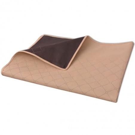 Manta de picnic beige y marrón 100x150 cm