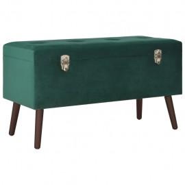 Banco con compartimento de almacenaje terciopelo verde 80 cm