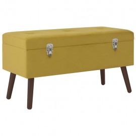 Banco con compartimento terciopelo amarillo mostaza 80 cm