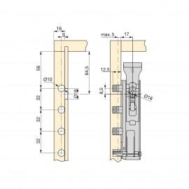 Colgador oculto para módulos altos, con pletina, carga 65 Kg, Acero, Cincado, 5 un