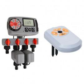 Temporizador automático riego 4 estaciones y sensor humedad 3V