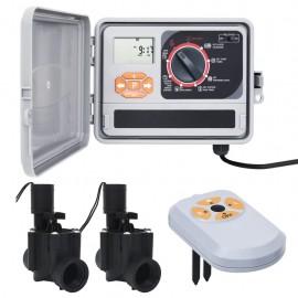 Controlador de riego con sensor de humedad y válvula solenoide