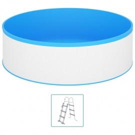 Piscina de chapoteo con escalera de 4 peldaños 350x90 cm blanco