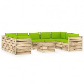 Muebles de jardín 10 piezas con cojines madera impregnada verde