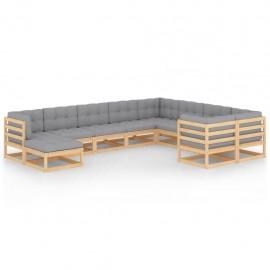 Muebles de jardín 10 piezas con cojines madera de pino maciza