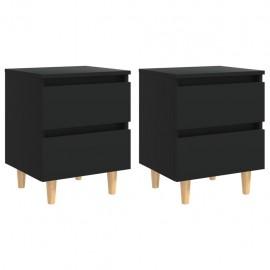 Mesitas de noche con patas 2 uds madera pino negro 40x35x50 cm