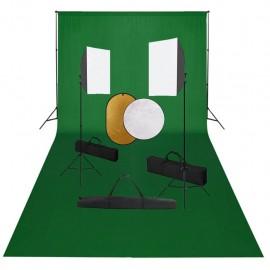 Kit de estudio fotográfico con luces softbox, fondo y reflector