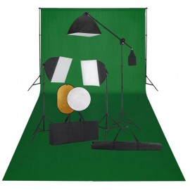 Kit de estudio fotográfico con luces softbox fondo y reflector