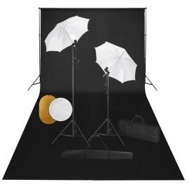Kit estudio fotográfico lámparas sombrillas fondo y reflector