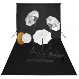 Kit estudio fotográfico lámparas, sombrillas, fondo y reflector
