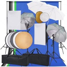 Kit estudio fotográfico softbox, sombrillas, fondo y reflector