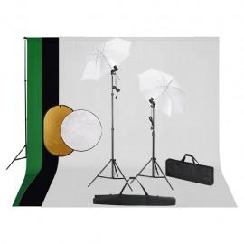 Kit estudio fotografía lámparas, sombrillas, fondo y reflector