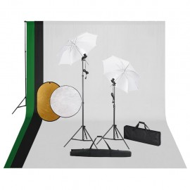 Kit de estudio fotográfico con lámparas, fondo y reflector