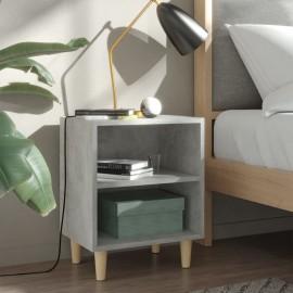 Mesitas noche con pata madera gris hormigón 2 uds 40x30x50 cm