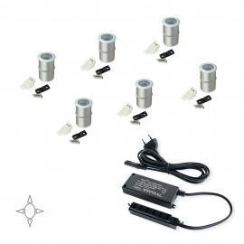 Luz LED, D. 18 mm, empotrables, convertidor 15 W, Luz blanca natural, Aluminio, Anodizado mate, 6 ud.