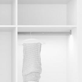 Barra para armario con luz LED, regulable 708-858 mm, 4 W-12V DC, sensor de movimiento, Luz Blanca natural, Aluminio, Anodizado