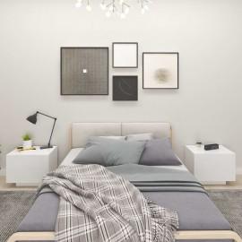 Mesita de noche aglomerado blanco 100x35x40 cm
