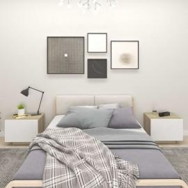 Mesita de noche aglomerado blanco y roble Sonoma 100x35x40 cm