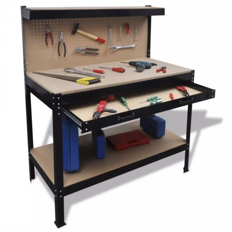 Mesa de trabajo con tablero de clavijas y cajón