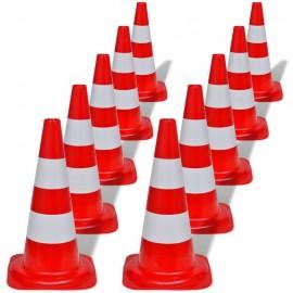 Conos de tráfico reflectantes rojos y blancos 50cm (10 unidades)