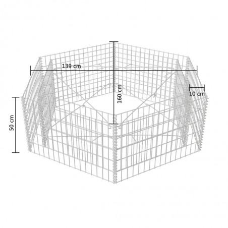 Jardinera hexagonal de gaviones 160x140x50 cm