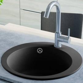 Fregadero de cocina de granito con un seno redondo negro