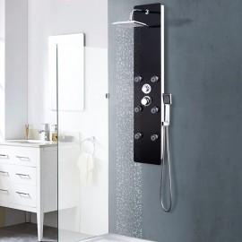 Panel ducha de vidrio negro 25x44,6x130 cm
