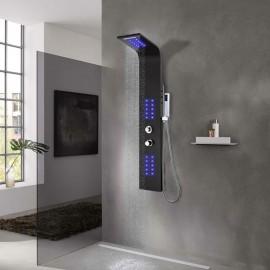 Panel de ducha de aluminio 20x44x130 cm negro