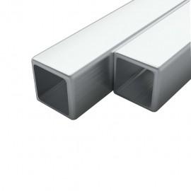 Tubo acero inoxidable cuadrado 2 uds caja V2A 2 m 15x15x1,5mm