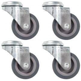Ruedas giratorias con agujero pasador 4 unidades 50 mm