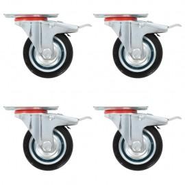 Ruedas giratorias con frenos dobles 4 unidades 75 mm