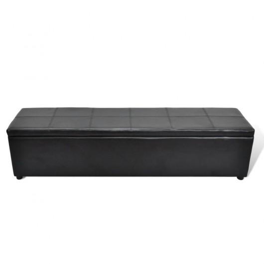 Banco baúl de interior, color negro, extra largo