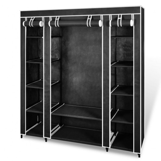 Armario de tela compartimentos y varillas 45x150x176cm negro