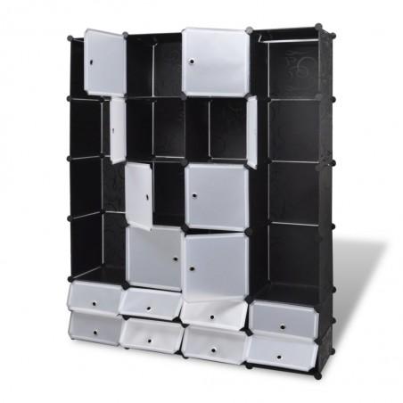 Armario modular 18 compartimentos negro y blanco 37x146x180,5cm