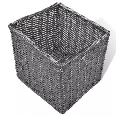 Banco baúl blanco con cojin, y tres cestas