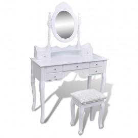 Tocador con espejo y taburete 7 cajones blanco