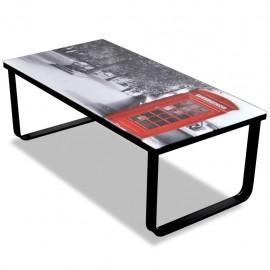 Mesa de centro superficie de vidrio con foto de cabina inglesa