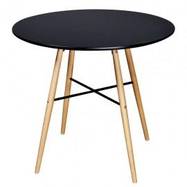 Mesa de comedor redonda MDF negra