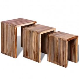 Set de 3 mesitas apilables de madera maciza reciclada