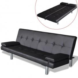 Sofá cama con dos almohadas ajustable cuero artificial negro