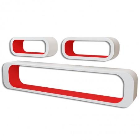 3 estanterías cúbicas material MDF blanco/rojo suspendidas libros/DVD